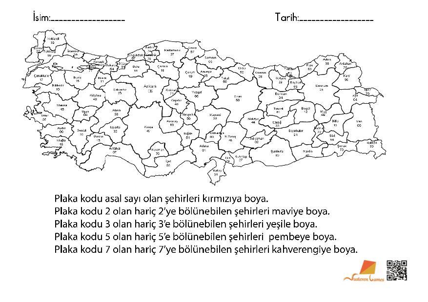 Bölünebilme – Türkiye haritası Boyama