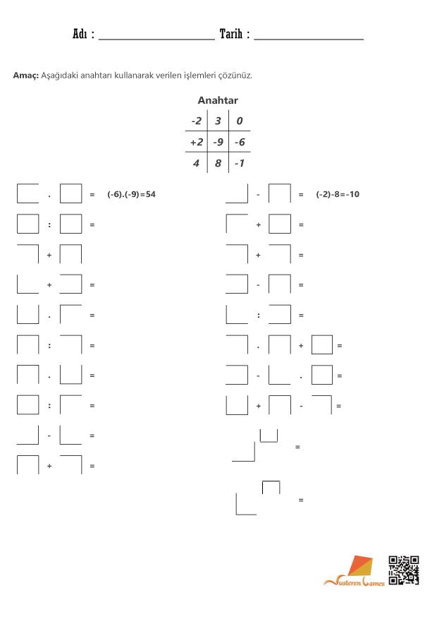 Tam Sayılarda İşlemler – Kod kırma etkinliği